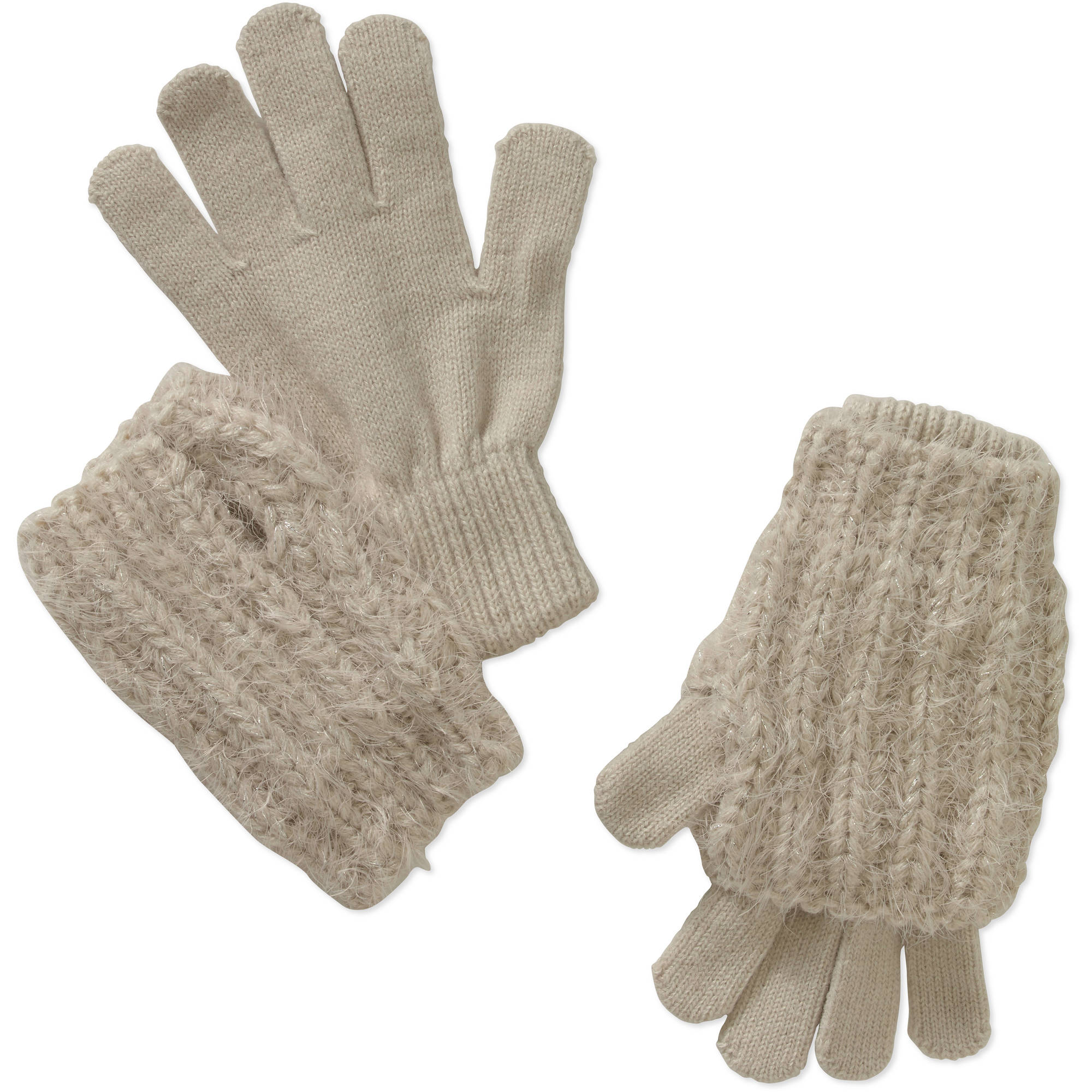 Faded Glory Women's Cozy Lurex 3-in-1 Gloves