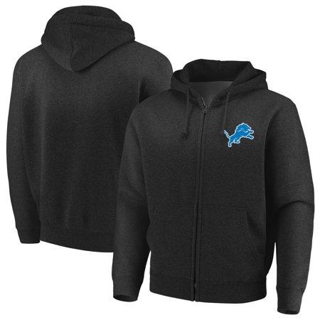 Detroit Lions Team Logo Ball - Detroit Lions Majestic Cap Logo Full-Zip Hoodie - Black