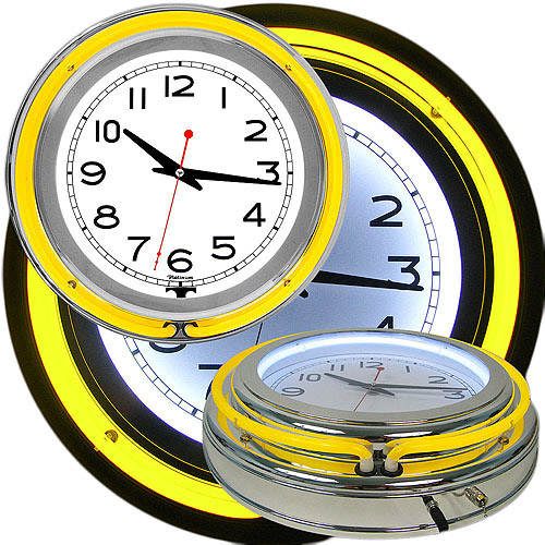 "14"" Double Ring Neon Clock, Yellow Outer & White Inner Ring"