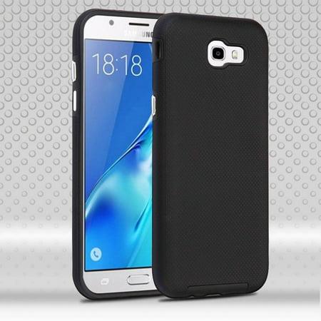Display Fusion Pro - Insten Dots Textured Fusion Hybrid Hard PC/TPU Case Cover For Samsung Galaxy J7 (2017) / J7 Perx / J7 Sky Pro / J7 V / J7v - Black