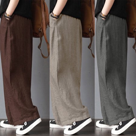 Men's Loose Wide Leg Trousers Pants Clothing Linen Casual Yoga Male Pants Plus Size
