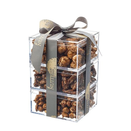 - The Nuttery Gift Tower of Freshly Glazed Nuts-Macadamia-Pecans-Peanuts