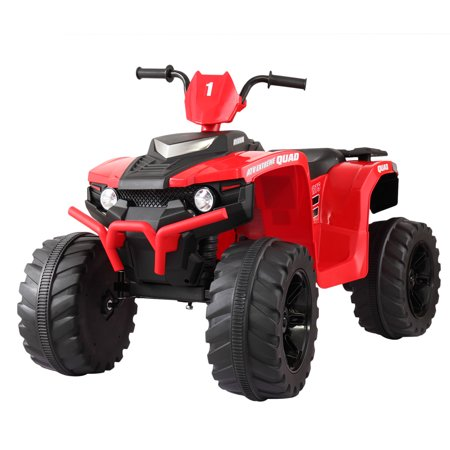 Tobbi 12V ATV Ride On Car Electric Battery Powered W/ 2 Speed, LED Lights,4 Wheels Red