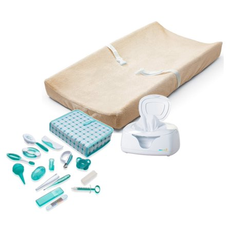 Summer Infant Contoured Changing Pad with Ultra Plush Cover (Ecru), Wipes Warmer & Nursery Health Care Kit