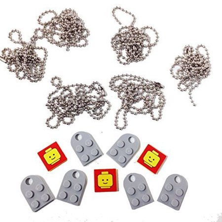 Lagos Rope Necklace (Lego Valentine Heart Necklace/Keychain Bundle Kit (6) LBGray Modified 3 x 2 Plates with Hole (3) Decorative Tiles (6) 24