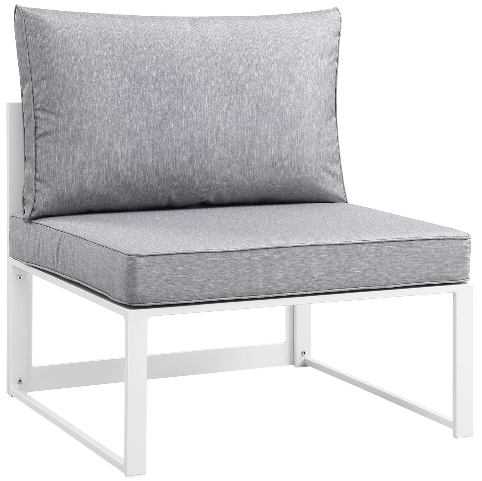 Modern Urban Contemporary Outdoor Patio Armless Chair, White Grey Fabric Steel