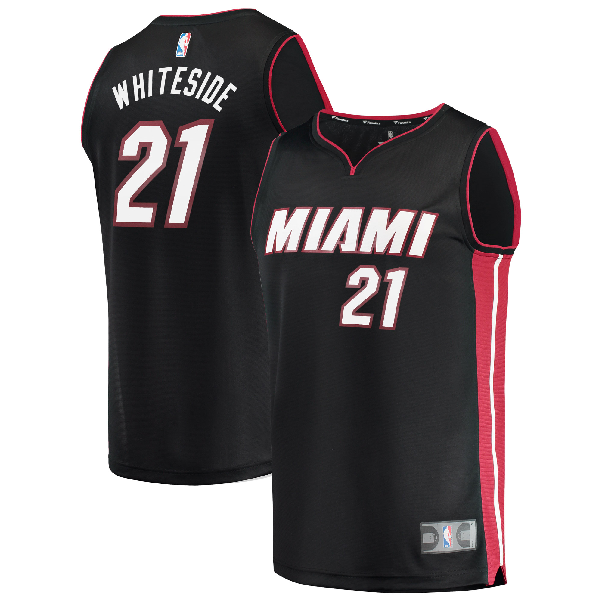 Hassan Whiteside Miami Heat Fanatics Branded Fast Break Replica Jersey Black - Icon Edition