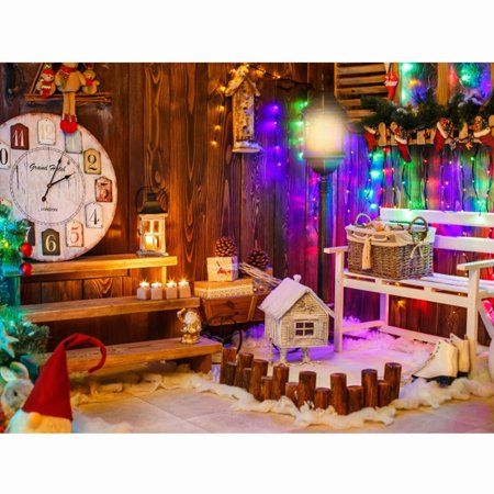 Winter Snow Decorations (NK 7x5ft Christmas Wood House Background Photography Backdrop Xmas Year Winter Branch Shiny Glitter Stars Snow Festival)
