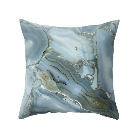 Colorful Pillowcase 45*45 Rosiest Geometric Marble Texture Pillow Case Super Soft Throw Sofa Bed Cushion Cover Protector Micro Fiber Peach Home Decor Bolster Pillowslip (Style 16) ()