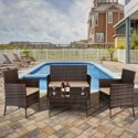 Ktaxon Outdoor Patio 4-Pieces PE Rattan Wicker Conversation Set