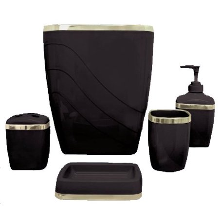 Black/Gold 5 Piece Bath Accessory Set ()