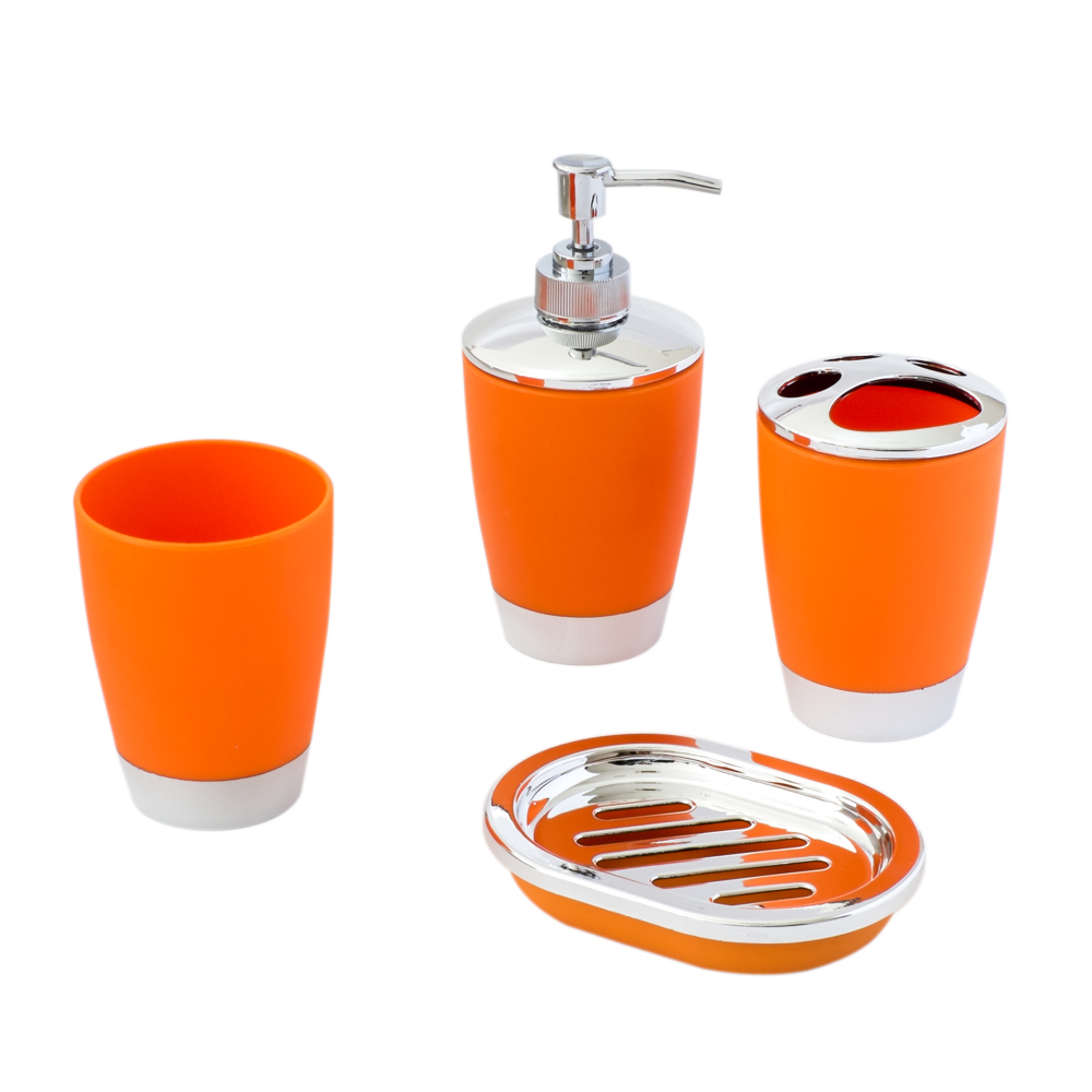 4 Piece Compact Orange And Chrome Bathroom Accessory Set Includes Tumbler Toothbrush Holder