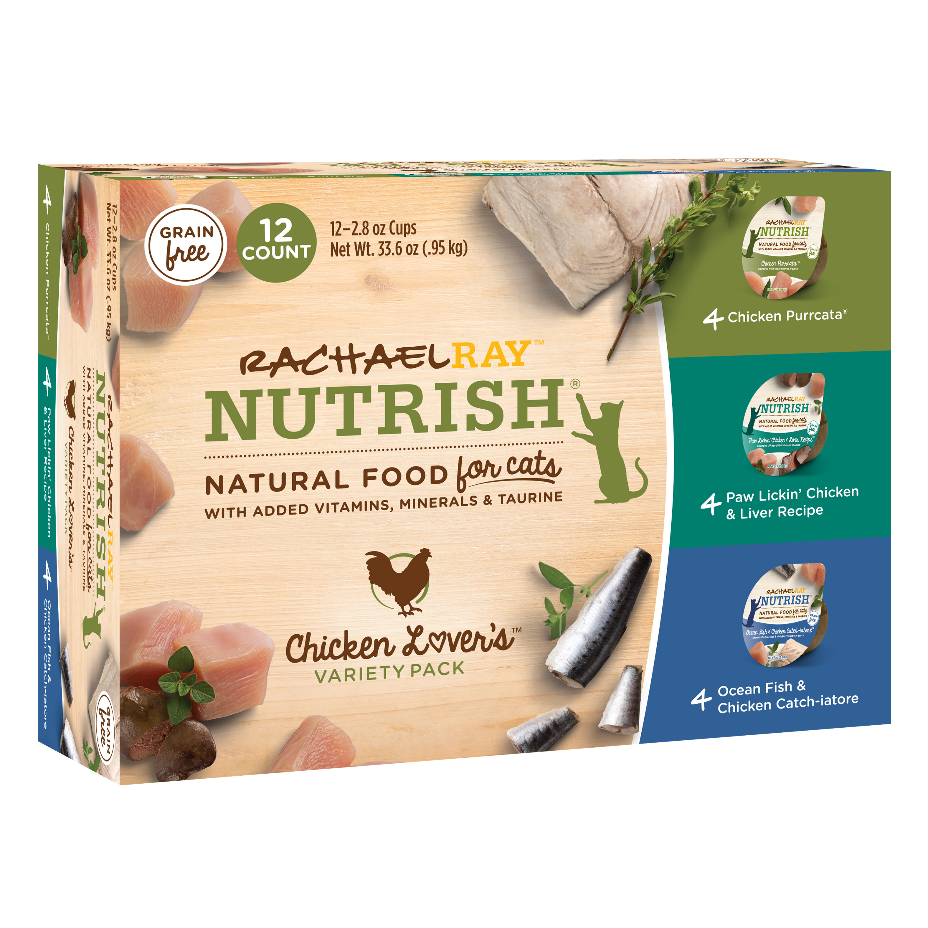 Rachael Ray Nutrish Natural Wet Cat Food Variety Pack - Chicken Lovers, 2.8 oz tubs, Pack of 12