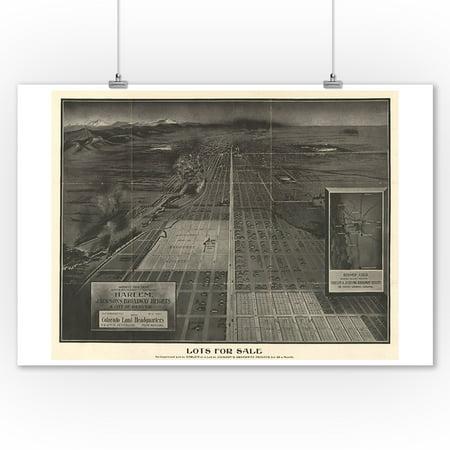 Denver  Co Panoramic Map   1907  9X12 Art Print  Wall Decor Travel Poster