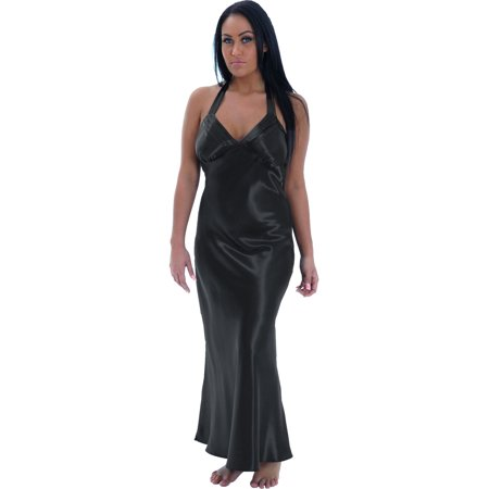 Sexy Plus Size Nightgown Black Satin Charmeuse Long Halter Lingerie Gown