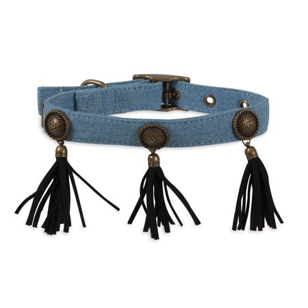 Petmate MuttNation Fueled by Miranda Lambert Denim Blue Concho & Fringe Custom Fit Dog Collar (Custom Conchos)