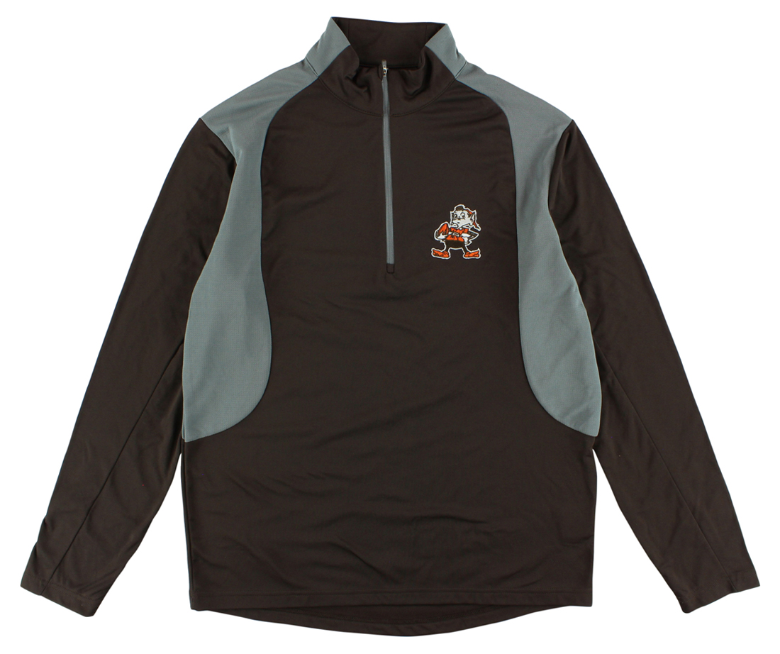 Antigua Mens Cleveland Browns Delta Quarter Zip Pullover Jacket Brown by Antigua