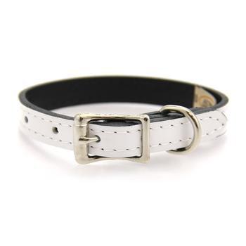Manhattan Patent Leather Dog Collar By Auburn White 12 Length X 5