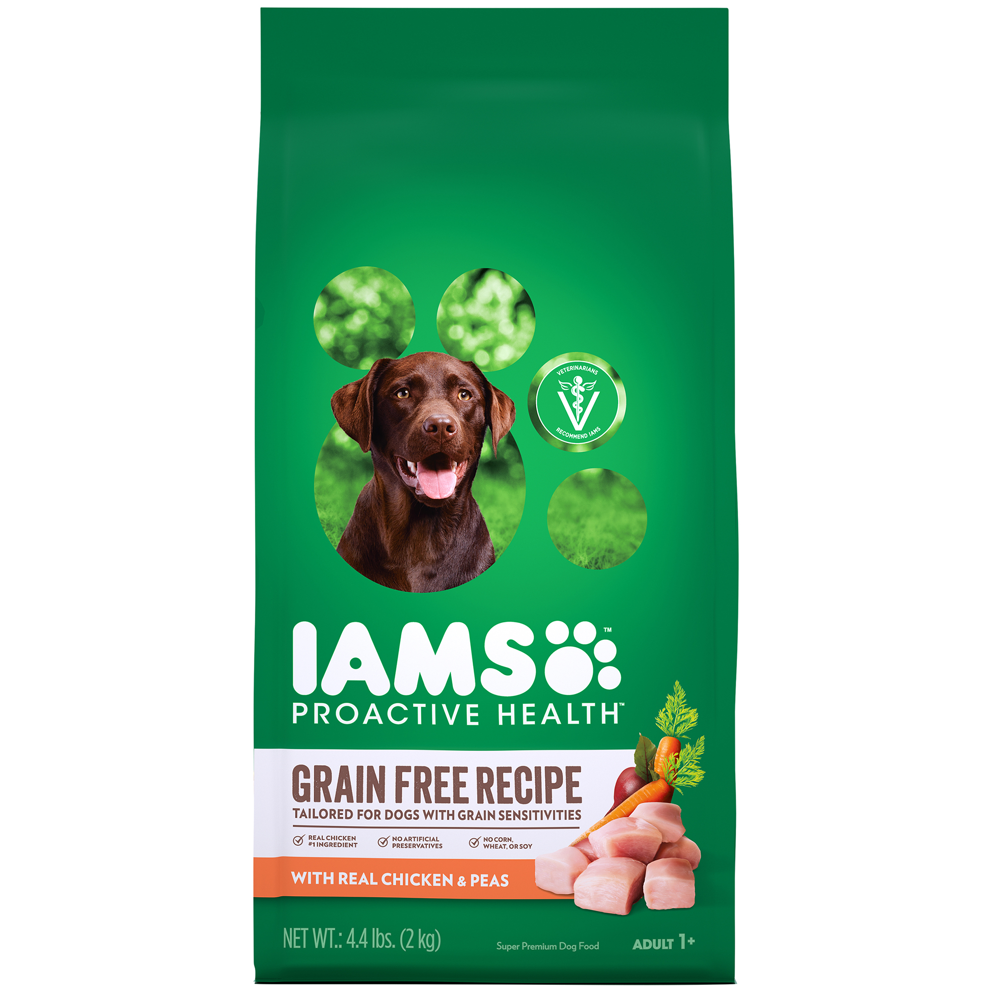 IAMS PROACTIVE HEALTH Adult Dry Dog Food, Grain Free Recipe with Real Chicken and Peas, 4.4 lb. Bag