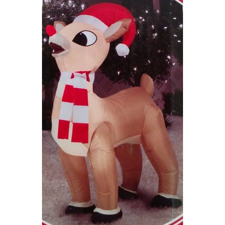 Gemmy Airblown Inflatable Rudolph Standing Wearing Red/White Striped Scarf and a Santa Hat - Holiday Yard Decorations, 3.5 Feet Tall.., By Rudolph the Red Nosed Reindeer Ship from US for $<!---->