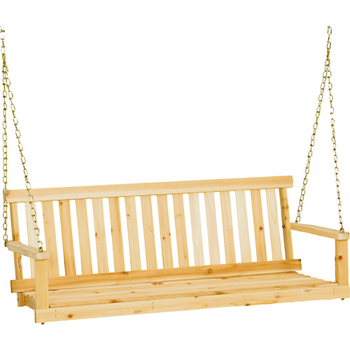 "Jack Post H-24 49""W x 21.75""D x 17.5""H Classic Natural Finish Porch Swing"