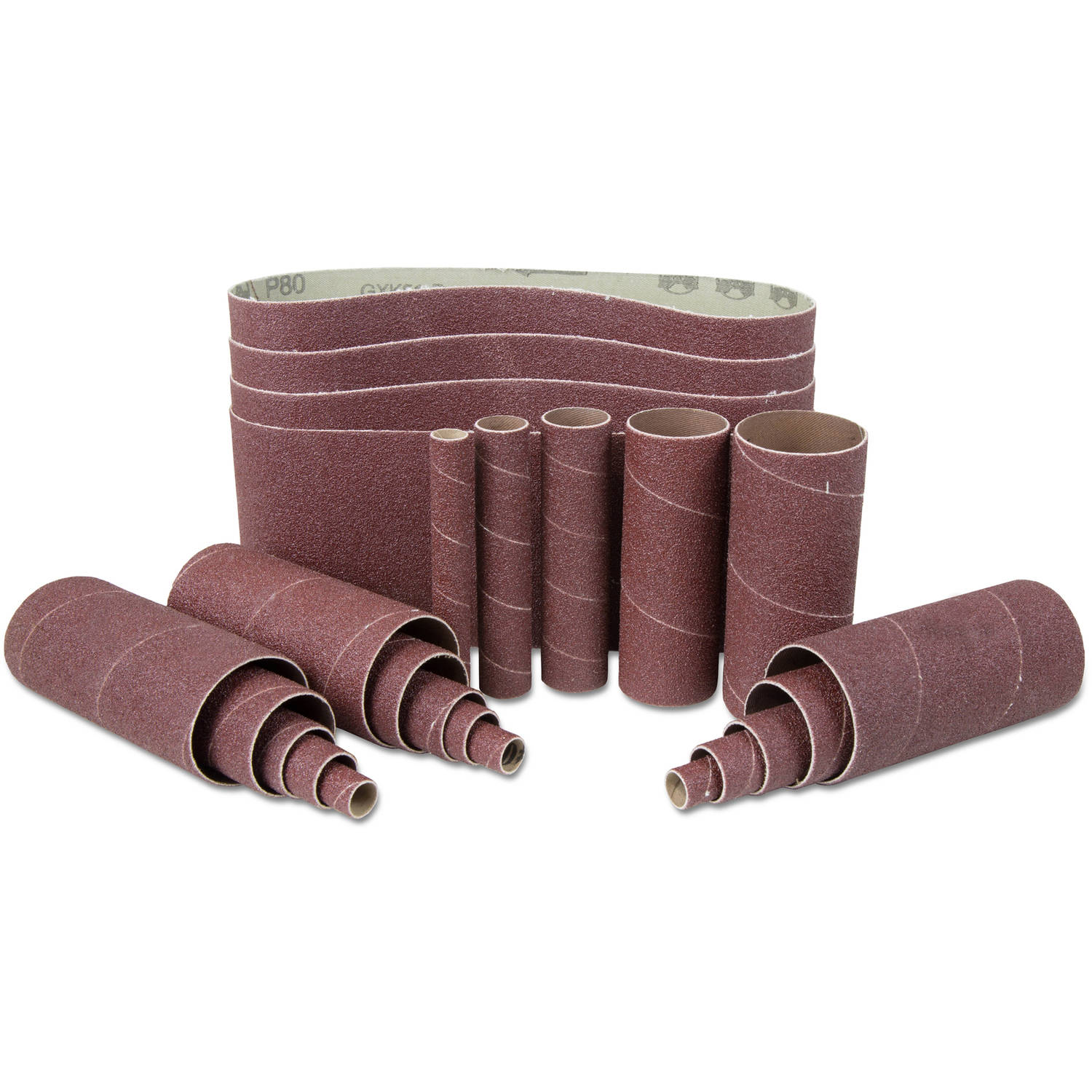 WEN 240-Grit Combination Belt and Sleeve Sandpaper Set, 24pk