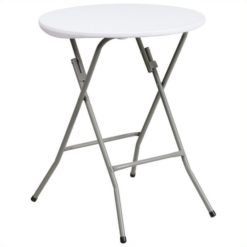 Flash Furniture 24 Inch Round Granite Folding Table in White by Flash Furniture