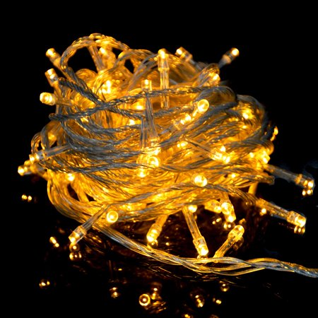 ABLEGRID 100 Led 10m Christmas Wedding Yellow Fairy String Lights with 8 Function - Halloween Functions Perth