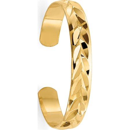 14k Yellow Gold Diamond-Cut Toe Ring