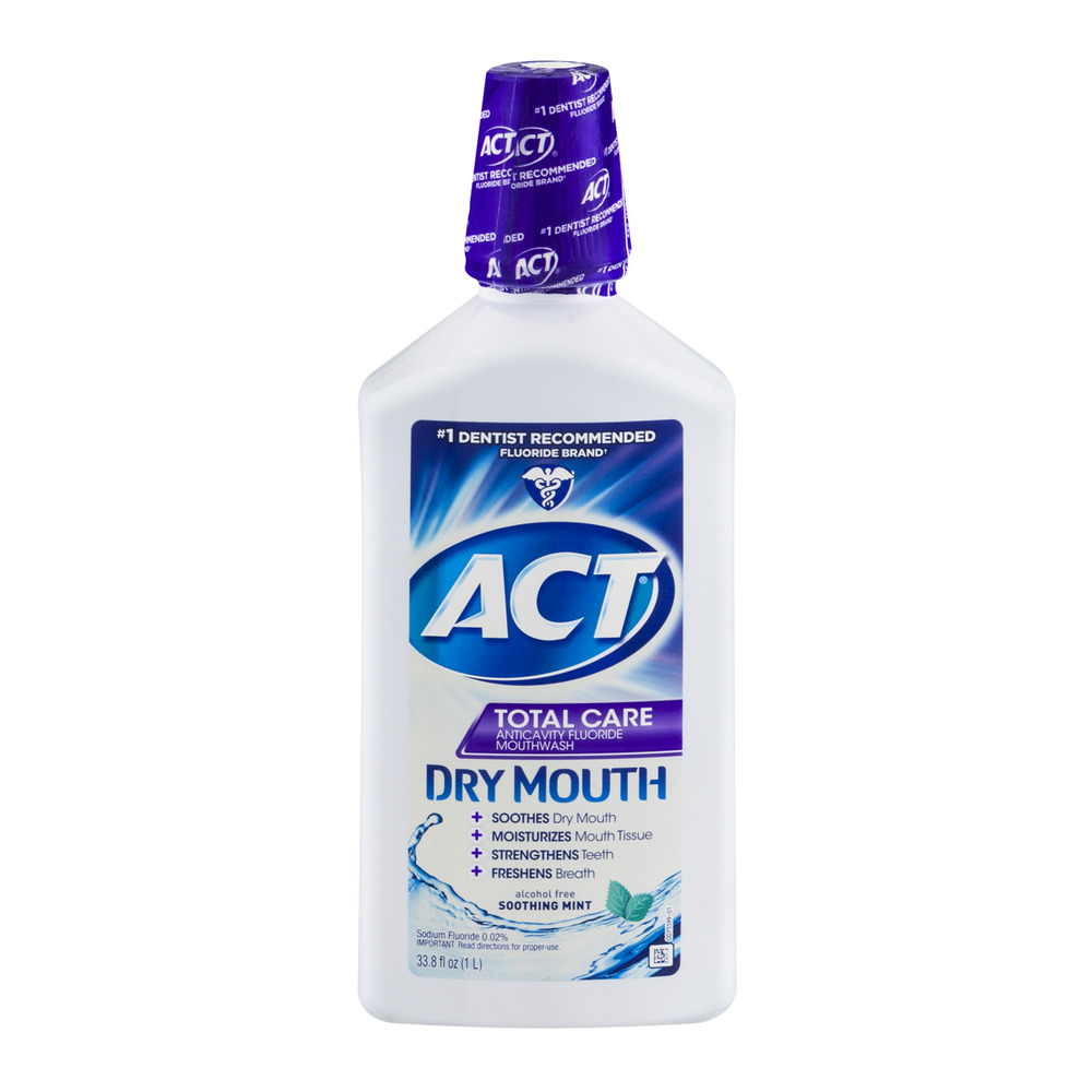 ACT Total Care Anticavity Fluoride Mouthwash Dry Mout Soothing Mint, 33.8 FL OZ