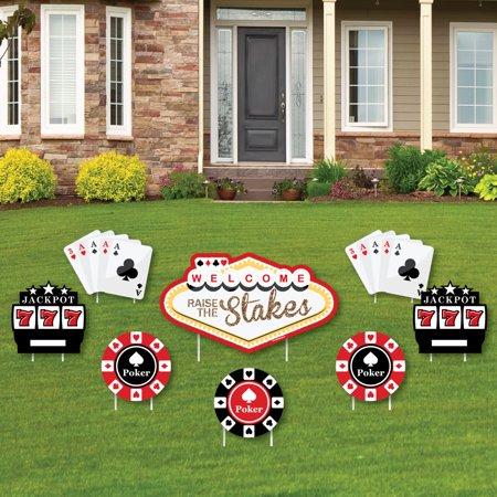 Las Vegas - Yard Sign & Outdoor Lawn Decorations - Casino Party Yard Signs - Set of 8 - Las Vegas Decorations