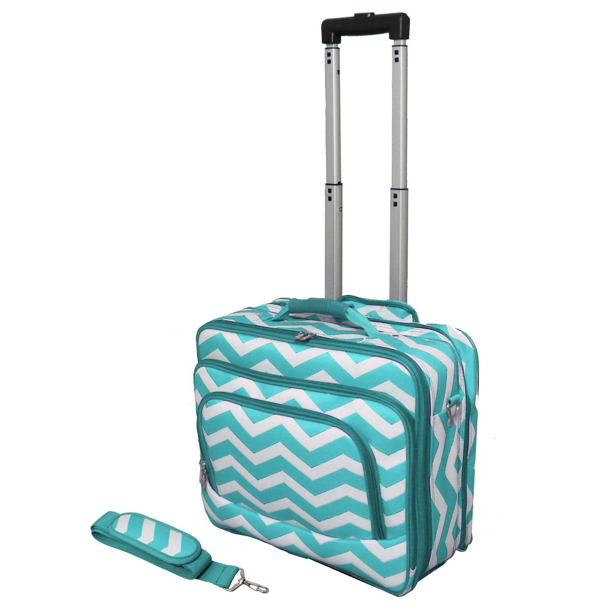 All-Seasons 813102-165LT-W 17 inch ZigZag Print Womens Rolling Laptop Case, Turquoise Cream