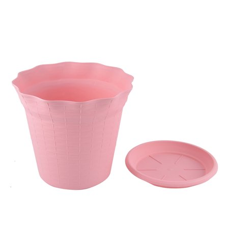 Pink 18.7cm Diameter Plastic Flower Pot Plant Planter Home Garden Decor 6pcs - image 1 de 5
