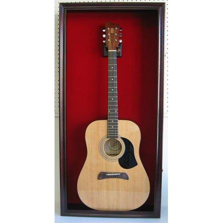 large acoustic guitar display case cabinet fit most guitars with lock mahogany finish. Black Bedroom Furniture Sets. Home Design Ideas