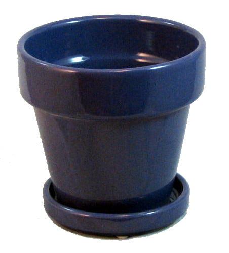 "Fiesta Ceramic Pot/Saucer - Purple - 7.5"" x 7"""