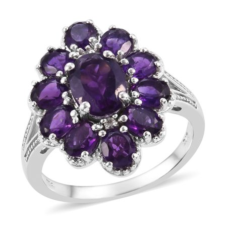 Cluster Ring 925 Silver Platinum Plated Amethyst Zircon Ct 4