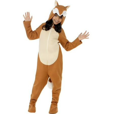 Child's Girls Cute Fox All In One Hooded Jumpsuit With Tail - Tails The Fox Halloween Costume