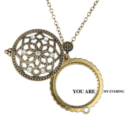 Vintage Jewelry Magnifying Glass Hollow out Flower Locket Pendant Necklace Chain