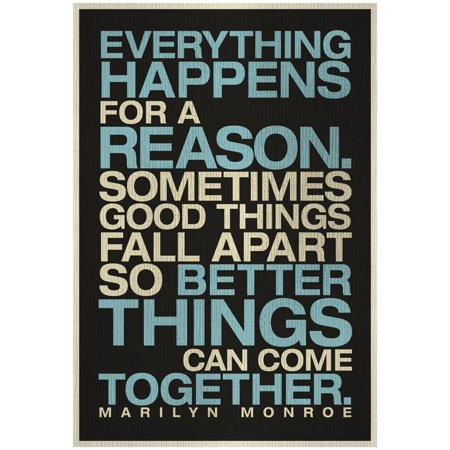 Everything Happens For a Reason Marilyn Monroe Quote Print Wall (Marilyn Monroe Cocktail)