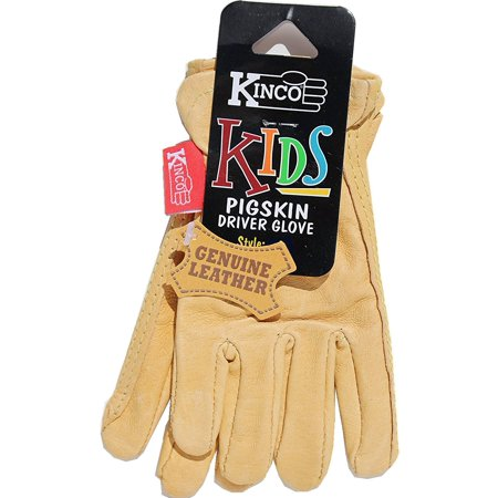 Kinco 94-C Grain Pigskin Leather Work or Gardening Gloves for Kids. Very Soft, Durable, Leather, No Break-in Period Required. Ages 3-6 ()