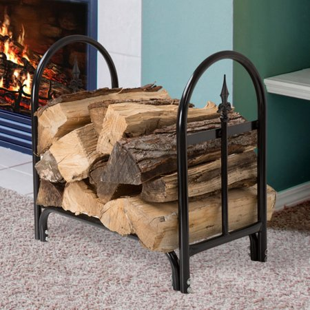 Pure Garden Fireplace Log Rack with Finial Design Scroll Design Log Holder
