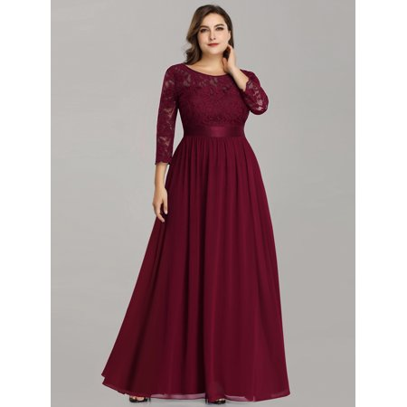Ever-Pretty Womens Vintage Floral Lace Long Sleeve Formal Evening Party Bridesmaid Dresses for Women 74122 Burgundy