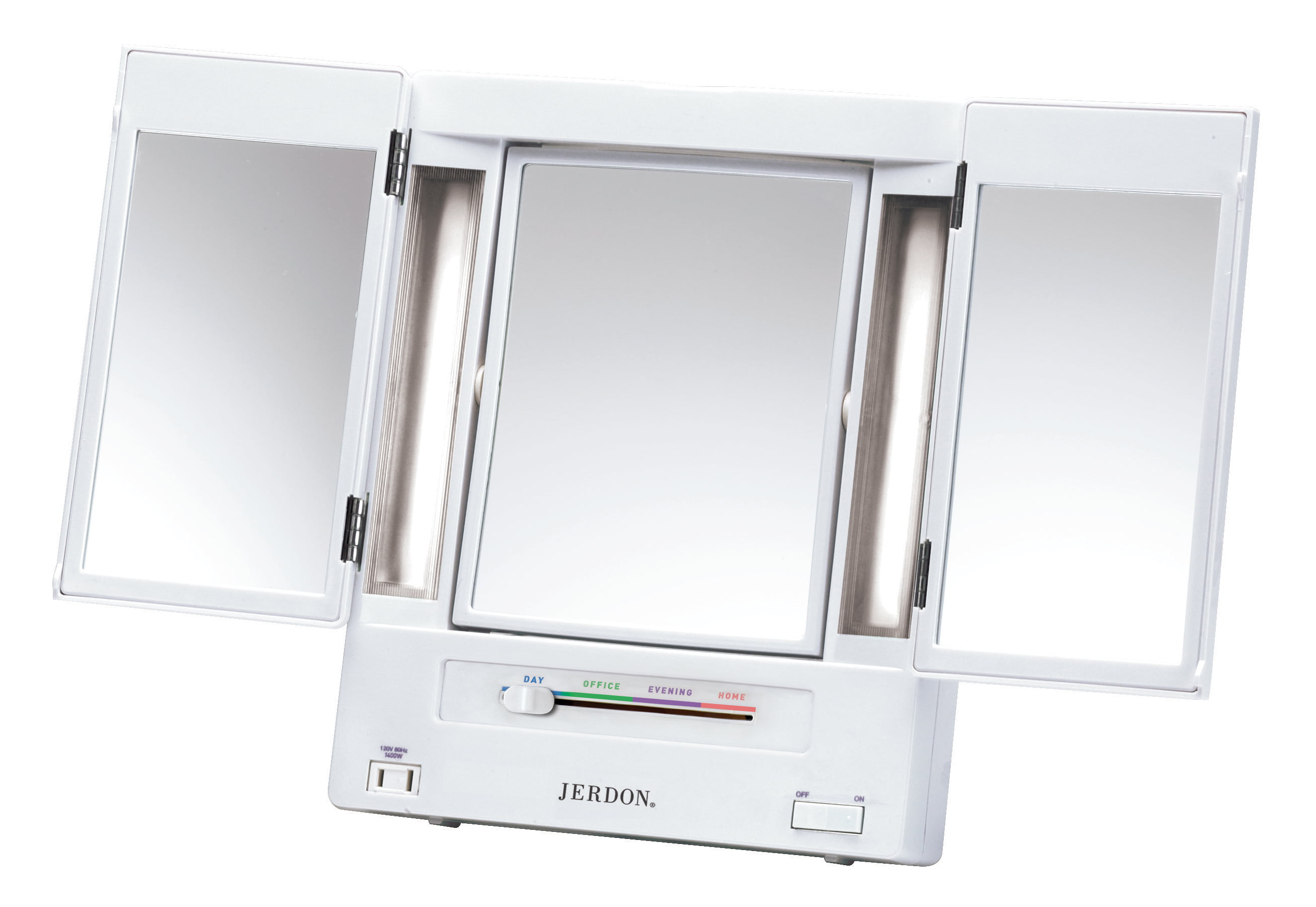 50 Value Jerdon Style Makeup Mirror In White 5x Magnification With Tabletop Tri Fold 2 Sided Light 12 75 X 3 75 X 10 75 Walmart Com Walmart Com