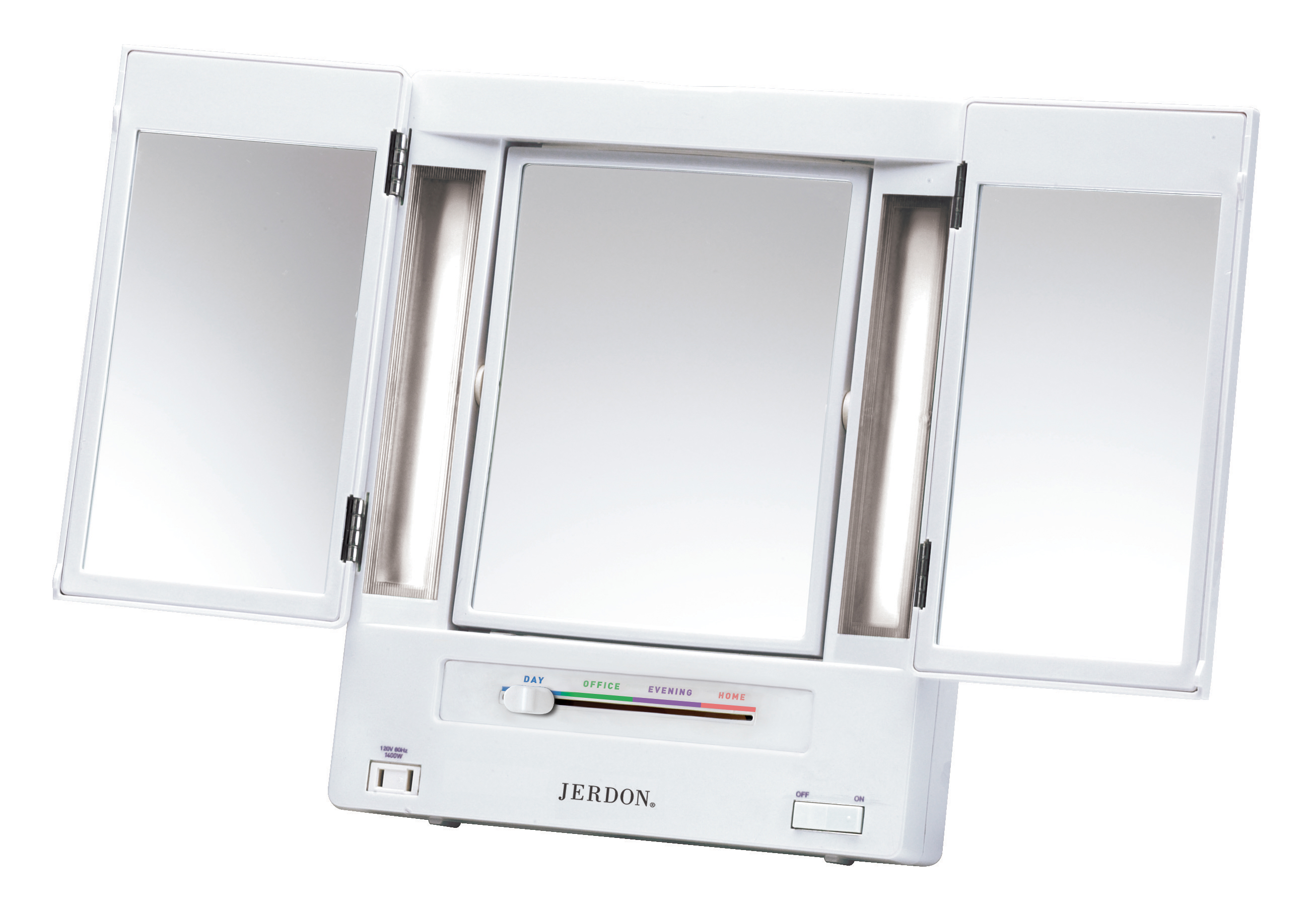 Jerdon Tabletop Tri Fold 2 Sided Lighted Makeup Mirror With 5x  Magnification And 4