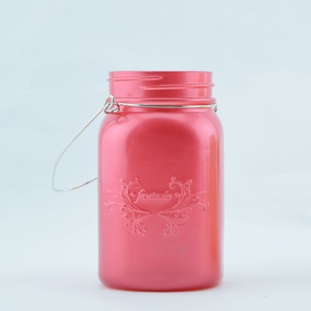 Fantado Regular Mouth Frosted Fuchsia / Hot Pink Mason Jar w/ Handle, 16oz / 1 Pint by PaperLanternStore