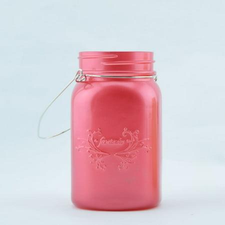 Fantado Regular Mouth Frosted Fuchsia / Hot Pink Mason Jar w/ Handle, 16oz / 1 Pint by
