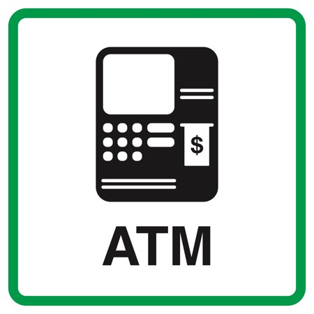 Business Machines - Atm Machine Picture Cashier Money Window Business Signs Commercial Plastic Square Sign, 12x12