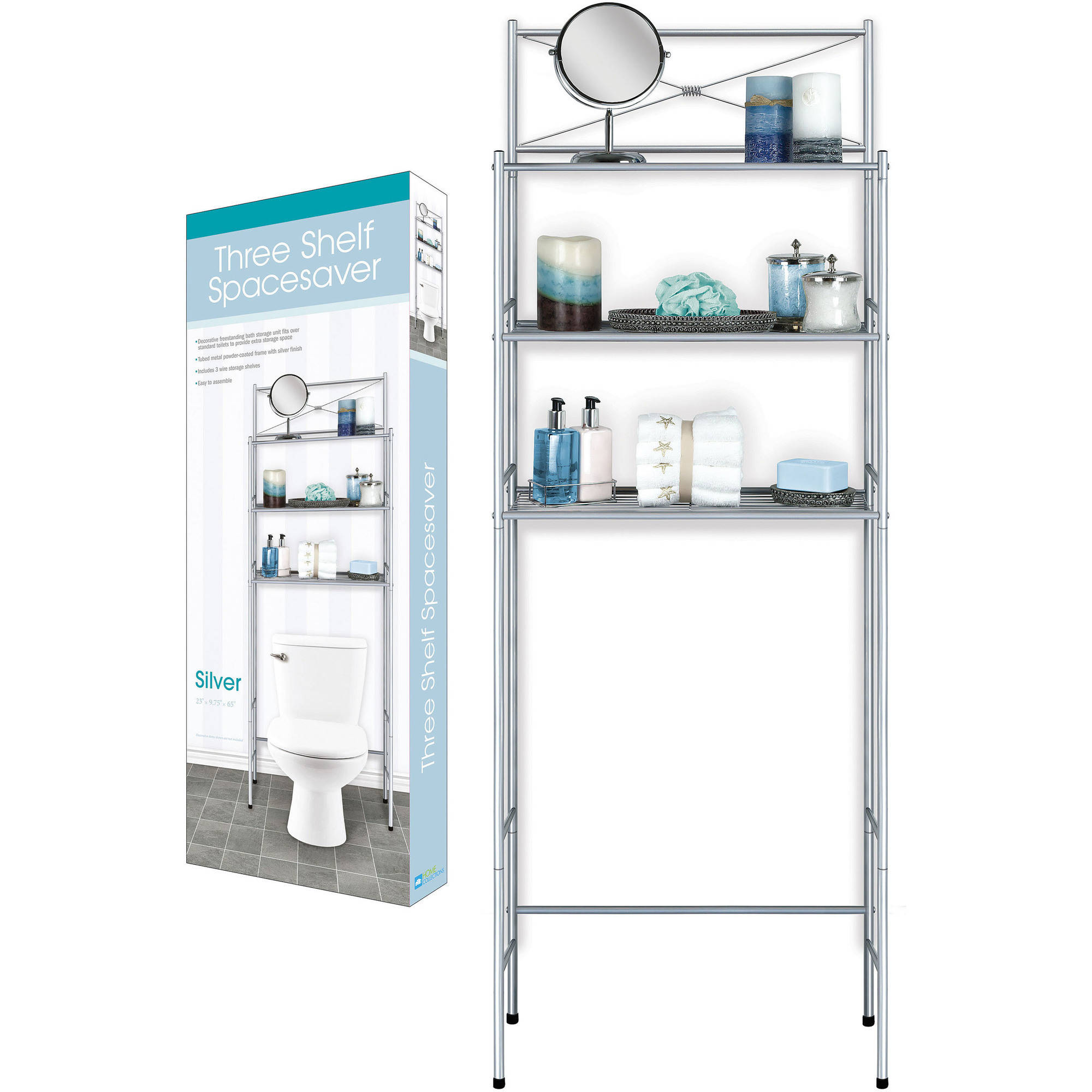 Home Expressions 3-Shelf Over-the-Toilet Space Saver, Silver