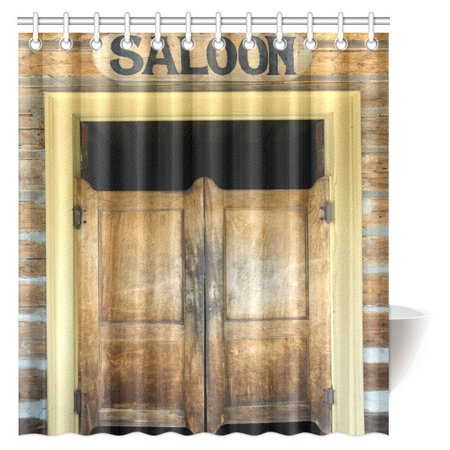 MYPOP Western Decor Shower Curtain, Authentic Saloon Doors Of Old Western Building In Montana Ghost Town Fabric Bathroom Shower Curtain with Hooks, 66 X 72 Inches - Old Western Decor