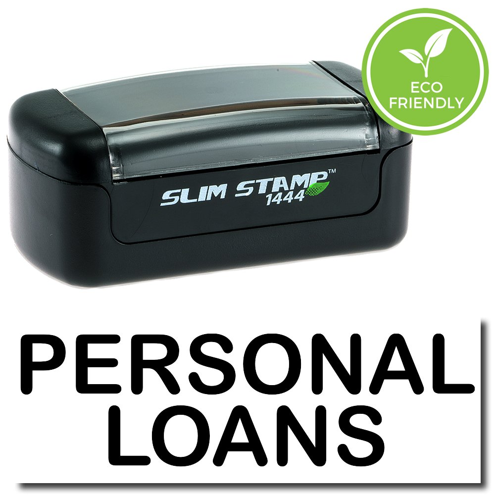 Slim Pre-Inked Personal Loans Stamp with Black Ink